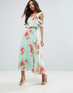 ASOS TALL Cami Cold Shoulder Flutter Sleeve Midi Dress in Floral Print