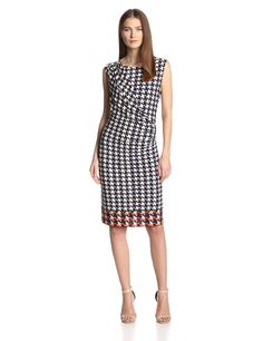 Black Friday Anne Klein Women's Houndstooth Sleeveless Dress, New Marine Multi, Small from Anne Klein Cyber Monday Elegant Dresses For Women, Work Dresses For Women, Simple Dresses, Clothes For Women, Work Clothes, Anne Klein, Different Dresses, Casual Work Outfits, Dress Images