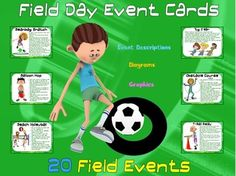 "Field Day Event Cards- 20 ""Grassy"" Field Events"