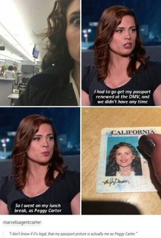 Hayley Atwell took her DMV photo as Peggy Carter