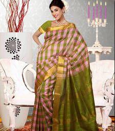 Buy Green Printed cotton_silk saree with blouse banarasi-saree online