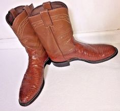 Justin Mens Cognac Iguana Lizard Roper Western Cowboy Leather Boots Sz 9.5B EUC #JustinBoots #CowboyWestern