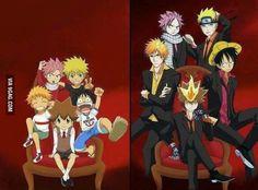 Naruto (Naruto), Natsu (Fairy Tail), Luffy (One Piece), Ichigo (Bleach), Tsunayoshi Sawada (Katenkyo Hitman Reborn). what happened? they were so adorable when they were tiny! Anime Meme, Otaku Anime, Manga Anime, Anime Art, Anime Crossover, I Love Anime, Awesome Anime, Reborn Anime, Anime Plus