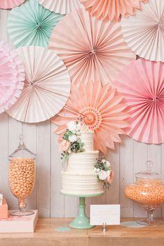 green pink peach wedding decor | Pink Peach Dessert Table