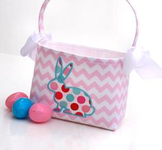 PETER COTTONTAIL~Fabric Basket Girls pastel chevron zig zag bunny applique