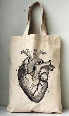 Coeur anatomie Canvas Tote bag sac de toile de coton imprimé.