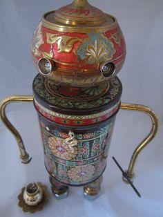 The Charmer Bot  found object robot sculpture assemblage von ckudja