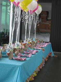 It was my friend Sally's 5 year old daughter's birthday party today and we decorated the table in pink, yellow, aqua and lime green. Yellow Birthday, Girl Birthday, 70th Birthday, Cake Table Decorations, Happy Birthday Beautiful, 2nd Birthday Parties, Girl Parties, Birthday Ideas, Backdrops For Parties