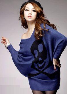 Skull tunic sweater