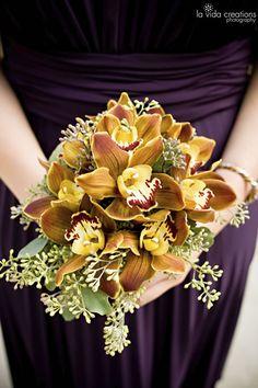 Copper cymbidium orchid bouquet