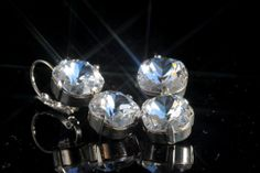 Swarovski Crystal Earrings  12mm clear cushion by wcubeddesigns, $110.00