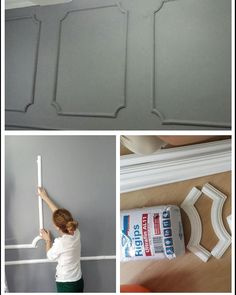 dekotrend Diy projects and self-ideas . – DIY Home Decor Wall Design, House Design, Deco Studio, Wall Trim, Wall Molding, Wainscoting, House Painting, Diy Wall, Home Interior Design