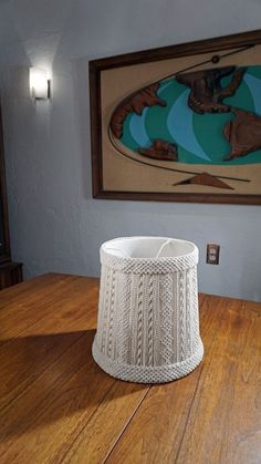 70's MCM MACRAME LAMPSHADE Bohemian Earthy Boho Mid Century rich hippie Vintage