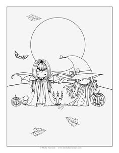 Two Little Witches Free Halloween Coloring Page by Molly Harrison Fantasy Art