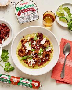 Chorizo Chochoyotes in Pistachio Mole Verde with Ranchero Queso Fresco Recipe