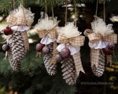 Christmas Pine Cone Strawberry Ornament by WestTwinCreationsLLC