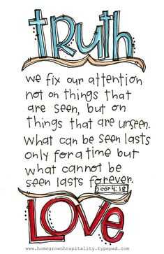 Truth and love 2 Cor 4:8