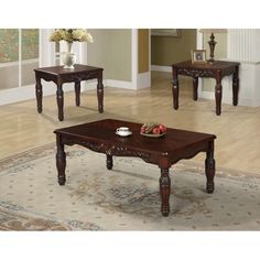 Best Quality Furniture 3-piece Traditional Cherry Coffee and End Table Set, Brown
