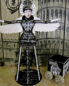 Large Santos Cage Doll Black and White ALTERED ANGEL by IMGirl