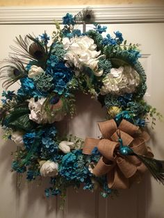 A personal favorite from my Etsy shop https://www.etsy.com/listing/386716426/blue-and-white-wreath-with-white