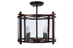 Wrought Iron Antique Bronze Semi Flush Mount Chandelier Ceiling Lamp - 11 Main