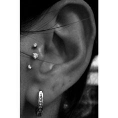 This triple piercing in the tragus is badass. I would totally do this, especially since I already have my tragus single pierced. So pretty! Tragus Piercings, Piercing Tattoo, Et Tattoo, Body Piercings, Tattoos, Unique Piercings, Piercings Bonitos, Bling Bling, Skin Art