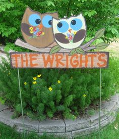 Owls Hand Painted Sign - State Flower - Personalized - Custom - Outdoor -