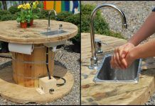 Turn a wooden cable spool into an outdoor kitchen or garden sink!