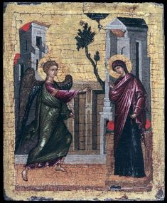 Page of The Annunciation by UNKNOWN ICON PAINTER, Cretan in the Web Gallery of Art, a searchable image collection and database of European painting, sculpture and architecture Medieval Paintings, European Paintings, Byzantine Icons, Byzantine Art, Tempera, Religious Icons, Religious Art, Web Gallery Of Art, Archangel Gabriel