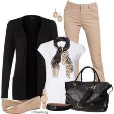 """No. 393 - Beige & Black"" by hbhamburg on Polyvore"