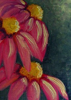 cone flower paintings | Art: VIOLET CONE FLOWERS MINIATURE DOLLHOUSE OIL PAINTING by Artist ...