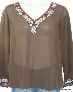 Lane Bryant Plus Size 14 16 Sheer Top Blouse Brown Beads Embroidery Sequins #LaneBryant #Blouse #Career