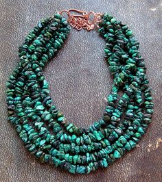 Bead Lover's Torsade - No36/Natural Hubei Turquoise, Copper