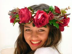 Day of the dead, Big red Flower Crown, Burgundy, Deep red roses headpiece, Dia de los muertos Red Flower Crown, Red Flowers, Red Roses, Beautiful Flowers, Poses, Red Ribbon, Day Of The Dead, Headpiece, Different Colors