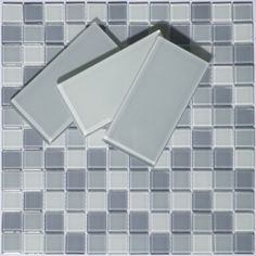 Solana Glass Mosaic Tiles  glass subway tiles in Smooth Grey