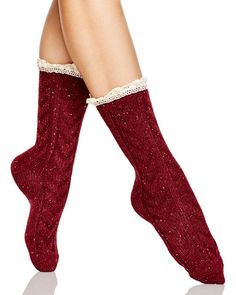 Free People Highlands Lace Trim Boot Socks