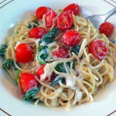 Best healthy Alfredo recipe ever! Fat free Philly, RF Parmesan, garlic, salt, spinach!