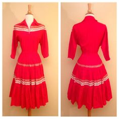 So much cute vintage for sale! Vintage Red Rockabilly Square Dancing Dress Country Western Cowgirl Circle Skirt Size Medium Large….