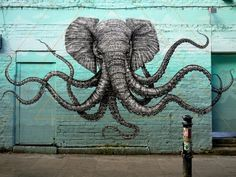 art, graffiti, street art, animals, elephants, octopus