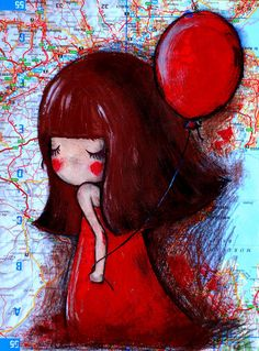 Girl with Red Balloon Original Illustration by lazydoll on Etsy, $29.90