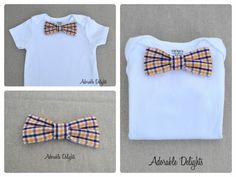Baby or Toddler Snap-On Bowtie (Bow Tie) Onesie Purple and Gold Check Design ( UW Husky LSU Louisiana Tennessee Tech JMU). $15.00, via Etsy.