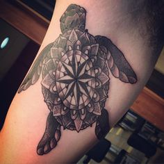 """#mandala #turtle banger! #tattoo #chameleontattoo #customtattoo #dots #lines #whips #blackandgreytattoo #josephboo #bostontattoo #cambridgetattoo…"""