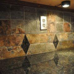 granite countertop and tile backsplash ideas - Black Granite Countertops With Tile Backsplash