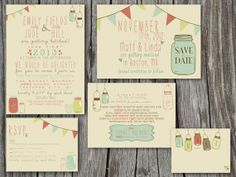 Wedding Invitation Suite Set - Printable, Custom, DIY - VINTAGE, RUSTIC. $85.00, via Etsy.