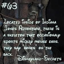 A skeleton inside of Indiana Jones wears a classic pair of Mickey Mouse ears occasionally. Disneyland World, Disneyland Secrets, Disney Secrets, Disneyland Vacation, Disney Tips, Disney Love, Disney Stuff, Disney Life Hacks, Punk Disney