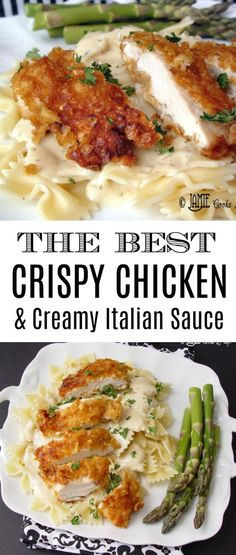 Crispy Chicken with Italian Sauce and Bowtie Noodles, one of the most popular re. - Crispy Chicken with Italian Sauce and Bowtie Noodles, one of the most popular re. Crispy Chicken with Italian Sauce and Bowtie Noodles, one of the m. Chicken Parmesan Recipes, Best Chicken Recipes, Recipe Chicken, Beef Recipes, Baked Chicken, Crispy Chicken Alfredo Recipe, Drink Recipes, Shrimp Recipes, Chicken Recipes With Sauce