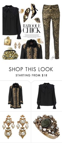 """""""Baroque"""" by dgia ❤ liked on Polyvore featuring Roberto Cavalli, Temperley London, Dolce&Gabbana, Topshop and AMOUAGE"""