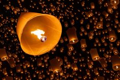 Floating lantern - Floating lantern, Yi Peng,Firework Festival in Chiangmai Thailand