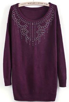 Wine Red Long Sleeve Rivet Rhinestone Sweater US$31.15