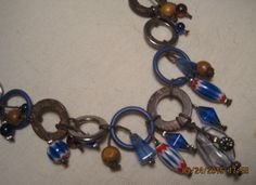 vintage cobalt blue white red round diamond shape beads earing sweater necklace or choker silver beads